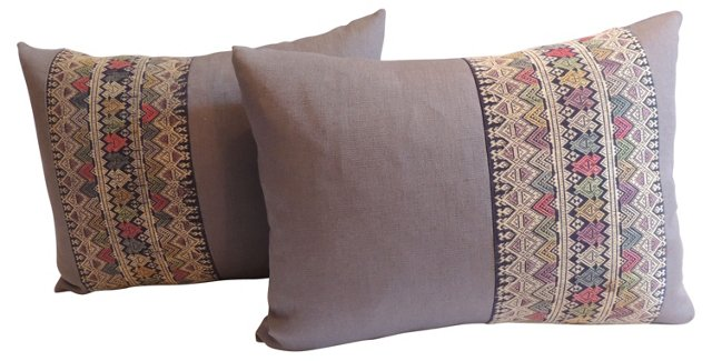 Laos Trim Pillows, Pair