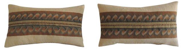 Lumbar Pillows w/ Aubusson Trim, Pair