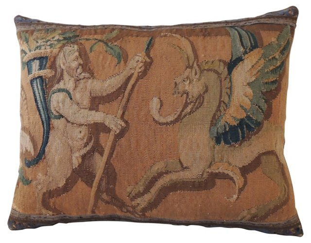 Pillow w/ Antique Tapestry