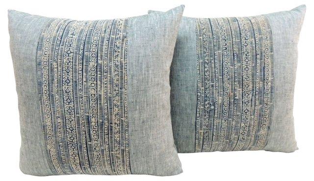 Batik & French Linen Pillows, Pair