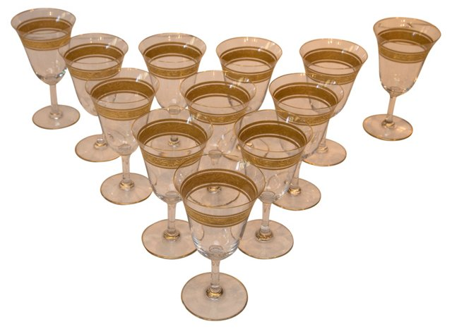 Crystal Water Goblets w/ Gold Band, S/12