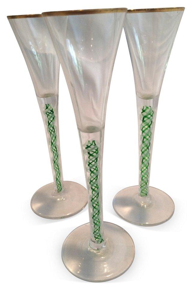 Murano Twisted-Stem  Glasses, Set of 3