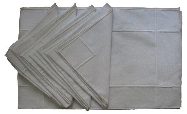 Belgium Linen Placemat &  Napkins, 8 Pcs