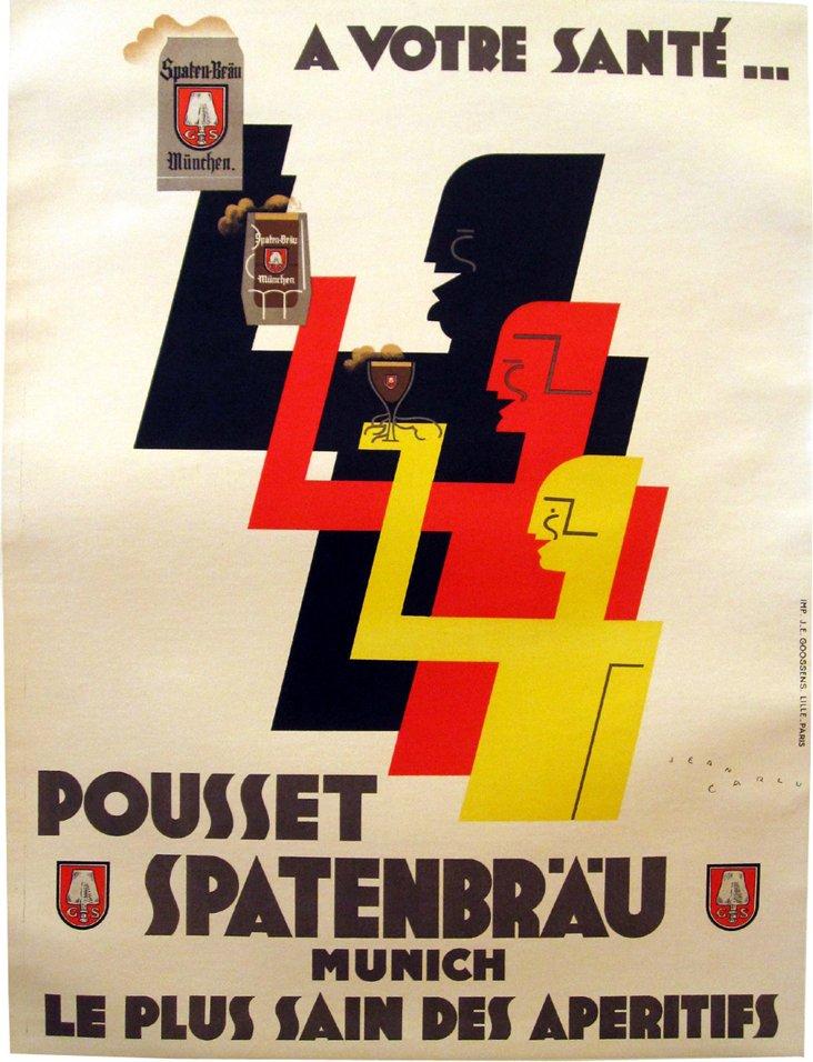 Art Deco Spatenbräu Beer Poster by Carlu