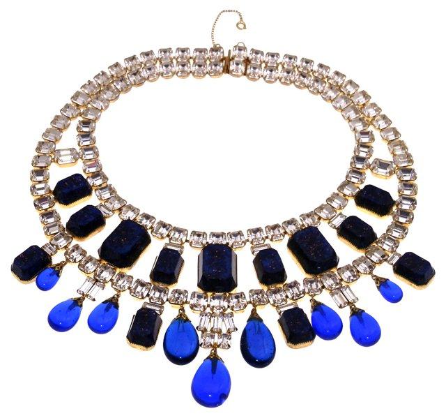 Blue & Clear Rhinestone Necklace