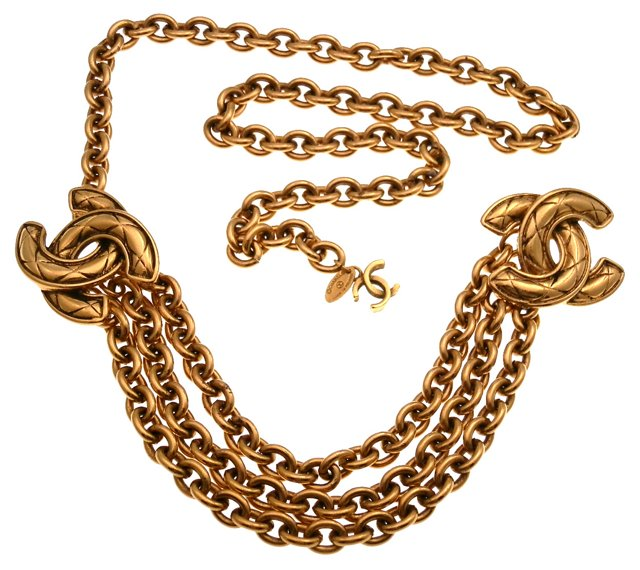 Quilted Chanel Logo Belt/Necklace