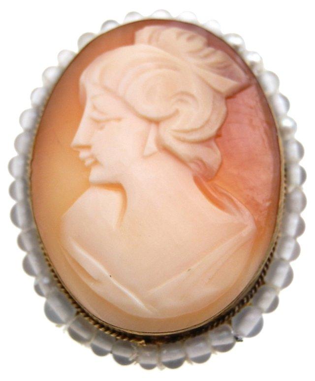 Cameo & Glass Bead Pendant Brooch
