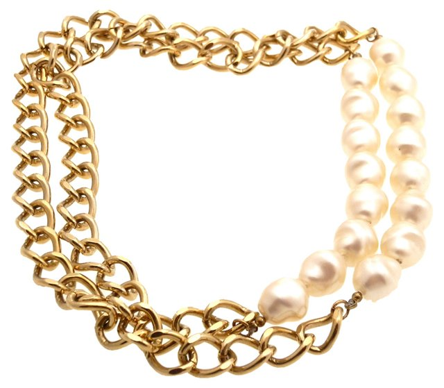 Faux-Pearl & Chain Necklace