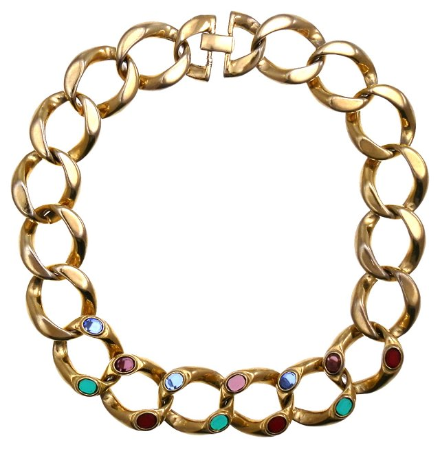 Multicolor Crystal Chain Necklace