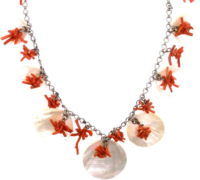 Mother-of-Pearl & Coral Charm Necklace