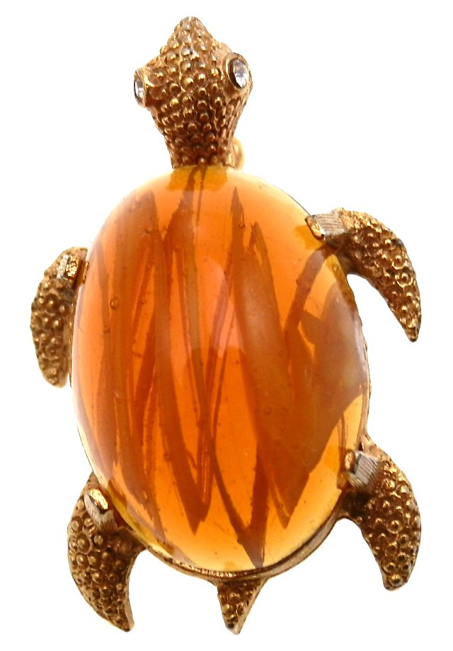 Napier Domed Cabochon Turtle Brooch