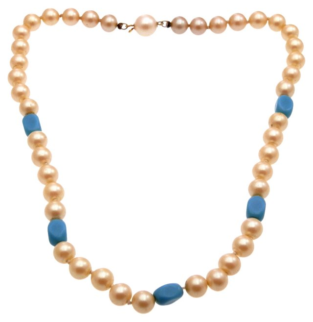 Glass Pearl & Glass Turquoise Necklace