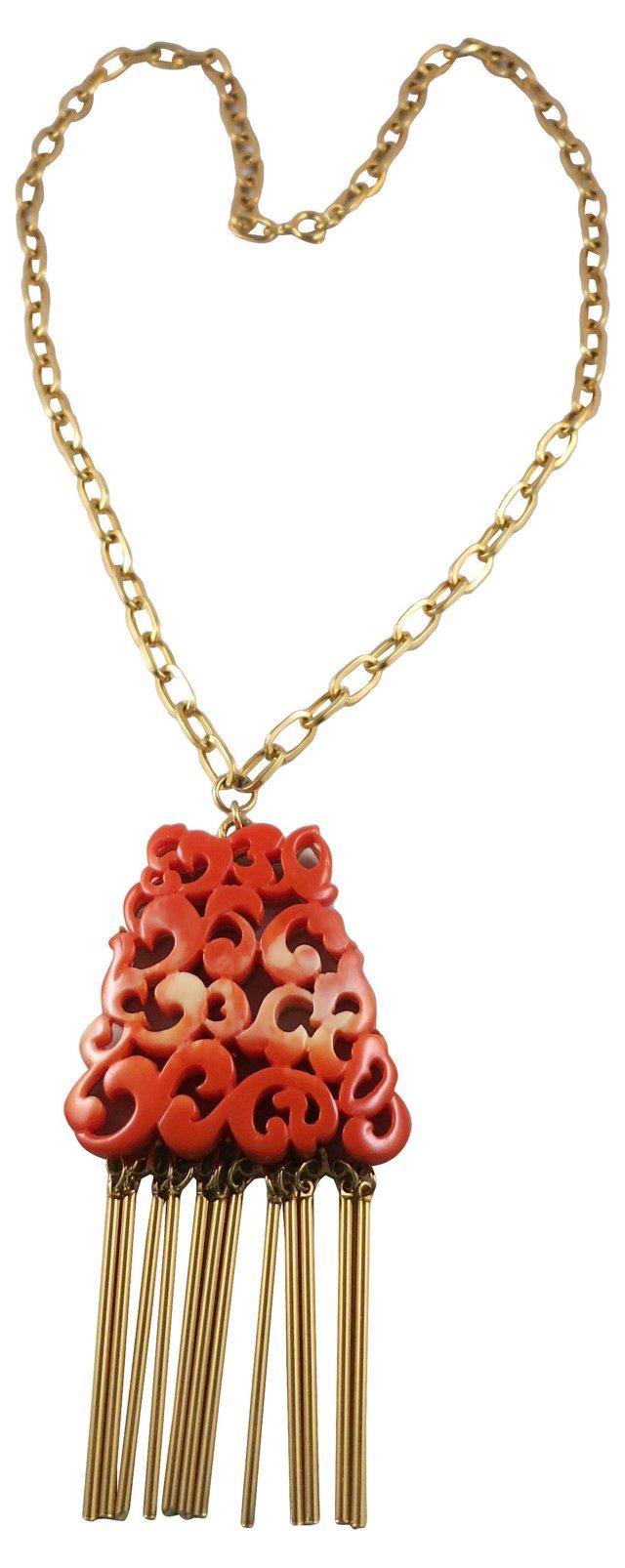 Kramer Faux-Coral Pendant Necklace