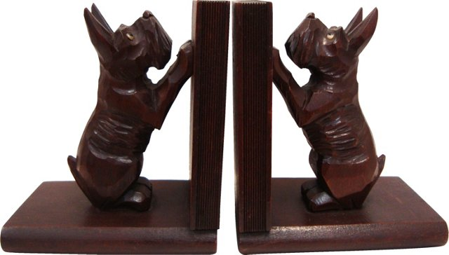 Hand-Carved Scottie Bookends