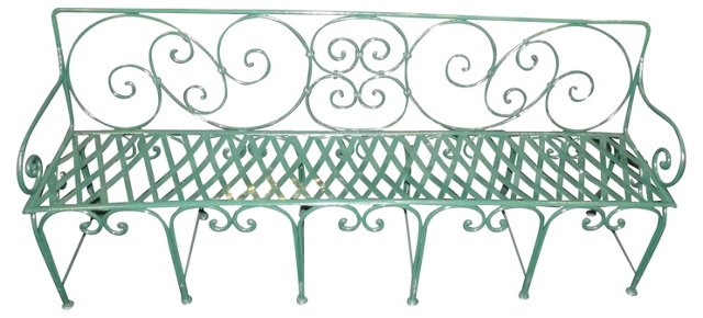 19th-C.  French Garden Bench