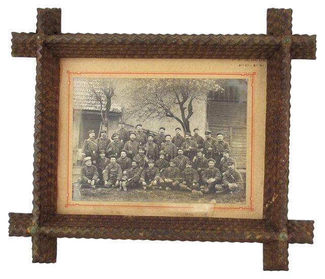 Tramp Art Frame w/ French Military Photo