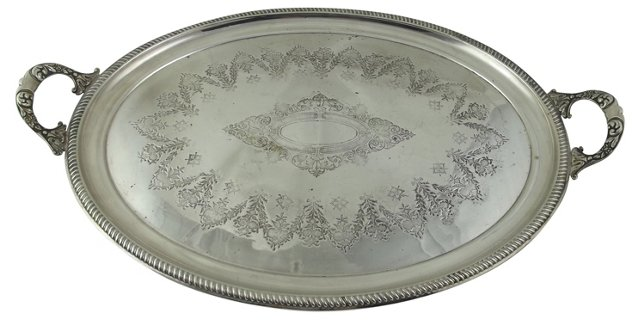 English Silverplate Serving Tray