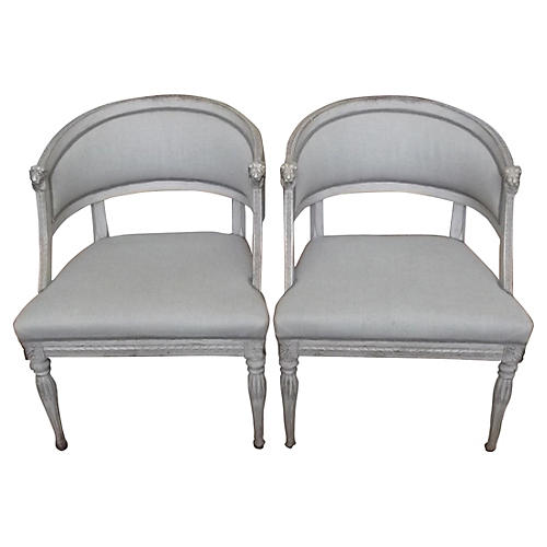 Lion Head Swedish Gustavian Chairs, Pair