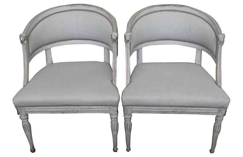 Lion Head Swedish Gustavian Chairs, Pair