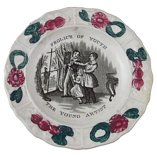 Decorated Staffordshire Plate