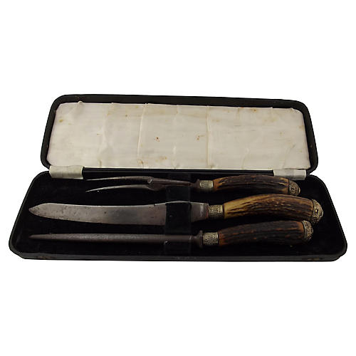 English Stag Handled Carving Set, 3 Pcs