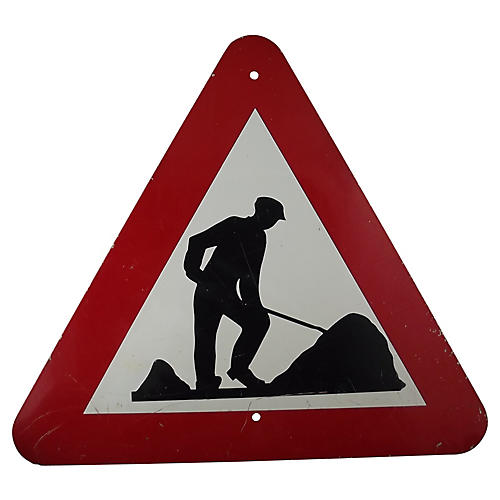 Belgian Men at Work Road Sign