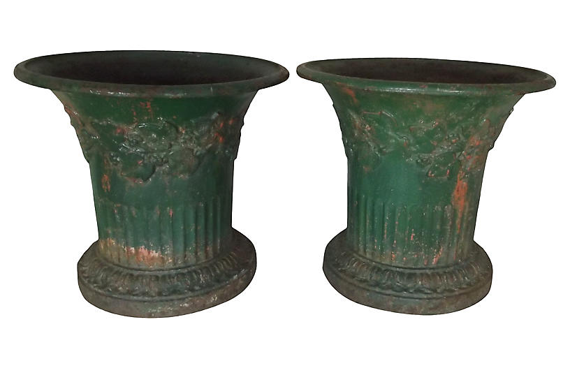 French Cast Iron Planters, Pair