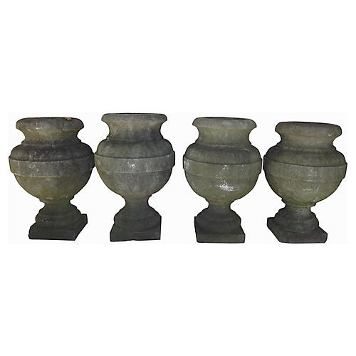 Belgian Bluestone Urns, Set of 4
