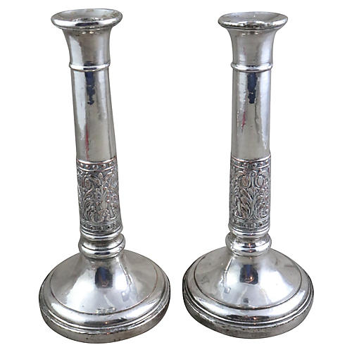 French Deco Candleholders, Pair