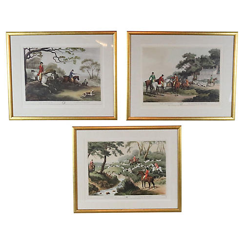 English Fox Hunting Prints, S/3
