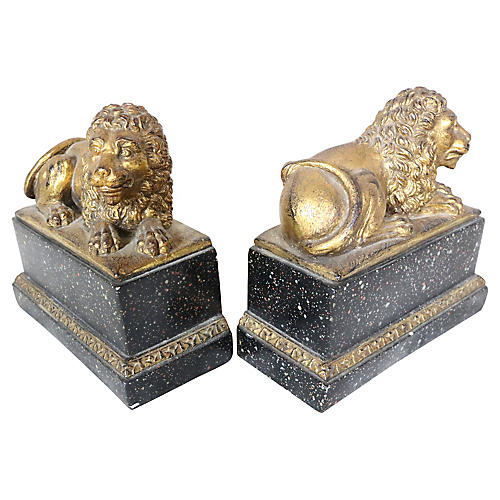 Lion Bookends, Pair