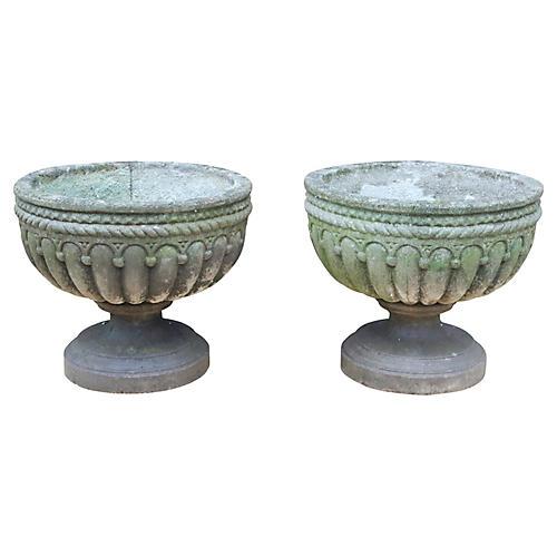 Large English Cast Stone Urns