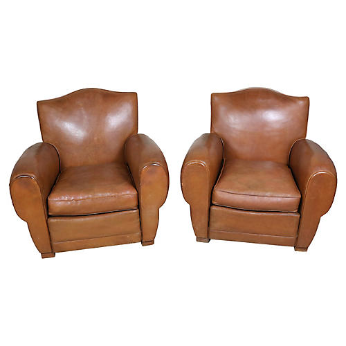 French Leather Club Chairs, Pair