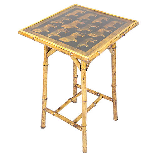 English Victorian Bamboo Table w/Lions
