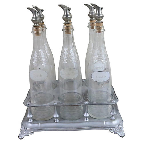 19th-C. French Bar Bottle Set