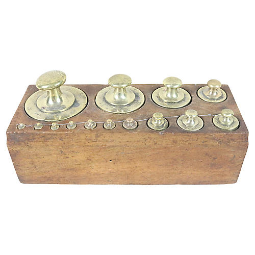 French Brass Weight Set