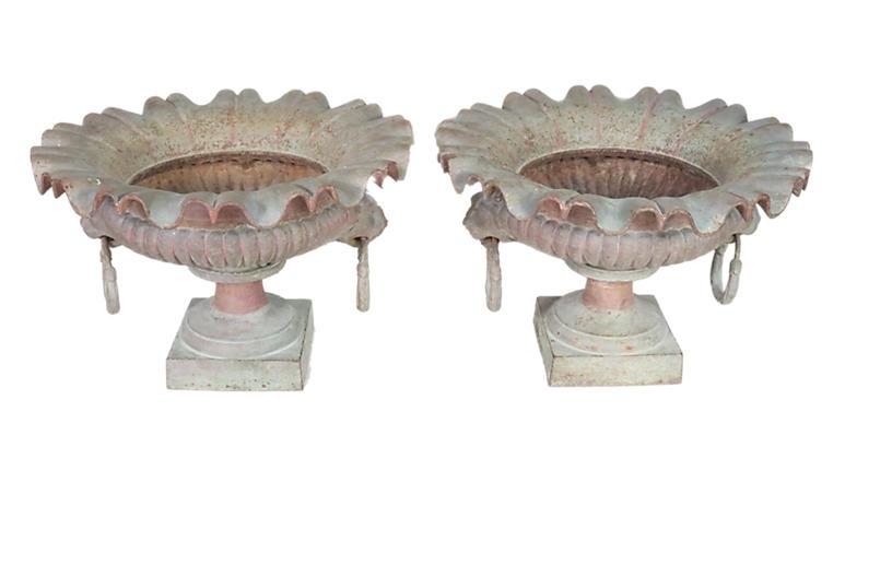 Napoleon III Cast Iron Urns, Pair