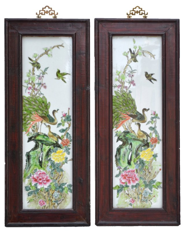 Chinese Porcelain Plaques, Pair