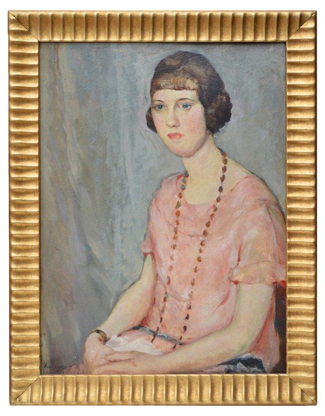 August Lundberg, Portrait of Woman 1922