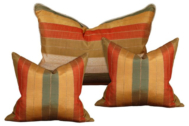 Striped Silk Uzbek Pillows, S/3