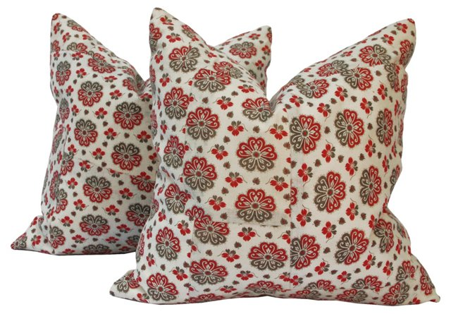 Antique Russian Cotton Pillows, Pair