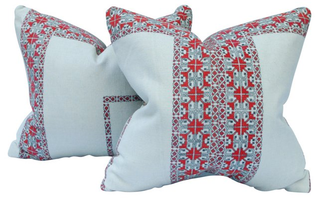 Vintage Uzbek Embroidered Pillows, Pair