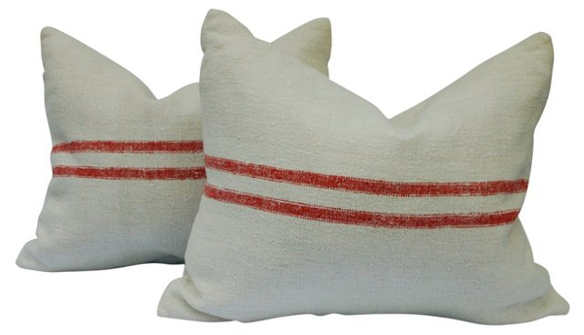 French Red Ticking Pillows, Pair