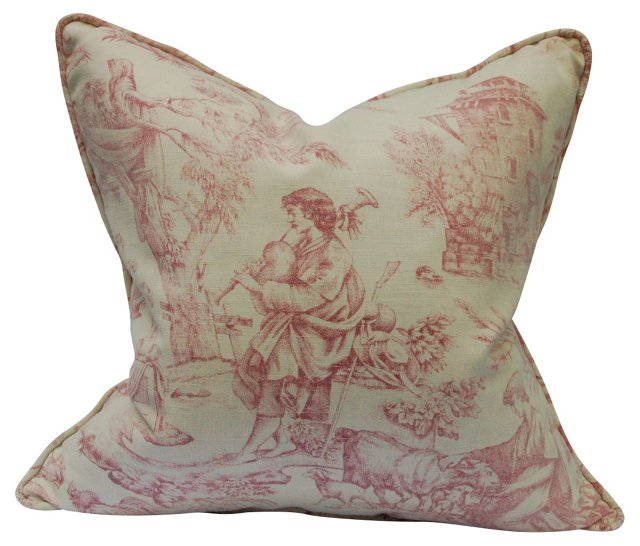 Pillow w/ Antique French Toile