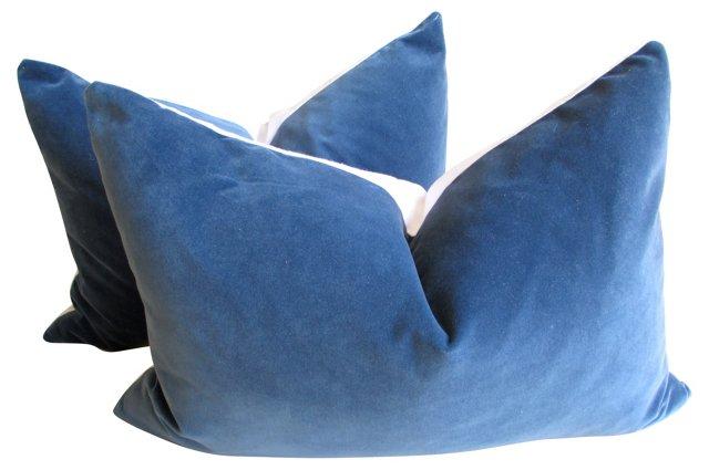 Blue Velvet & White Linen Pillows, Pair