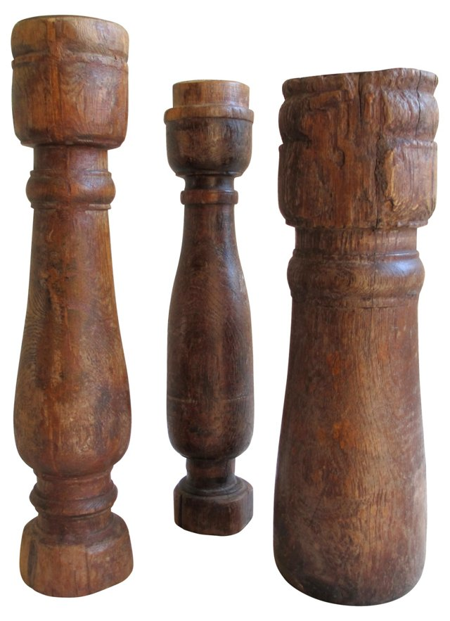 Wood Candleholders, Set of 3