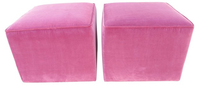 Orchid Pink Velvet Ottomans, Pair