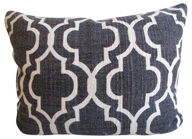 Charcoal Wool Trellis Pattern Pillow