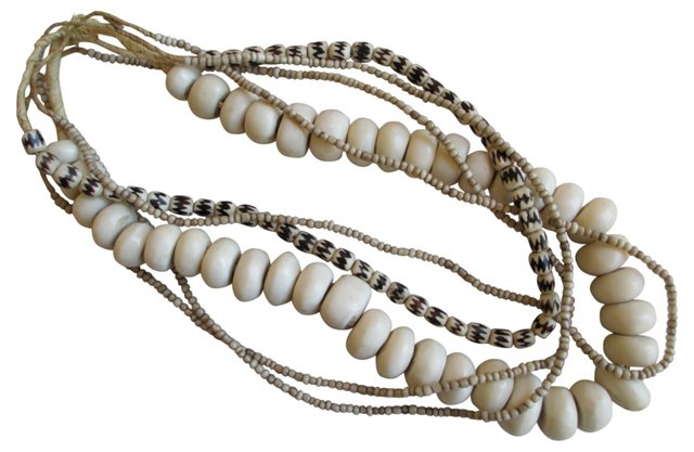 African Bone Bead Strands, S/5