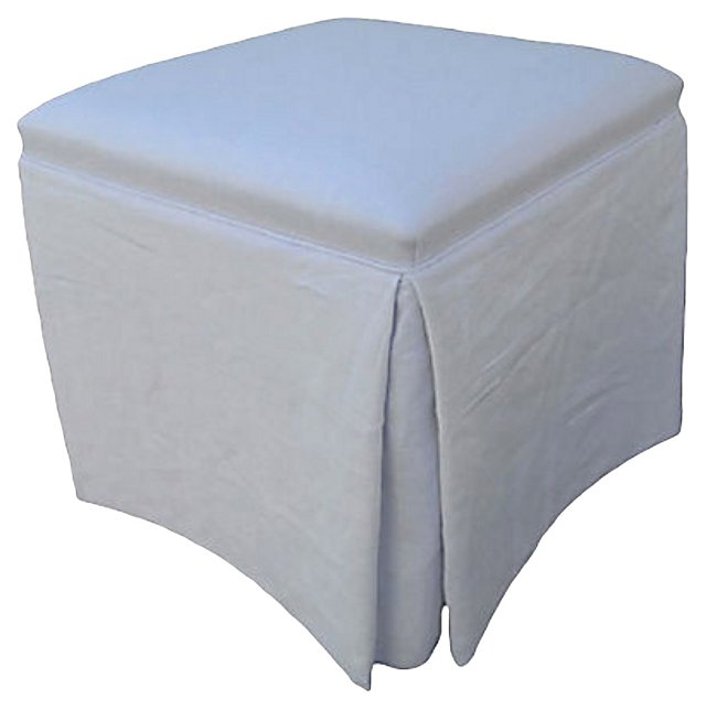 Custom Skirted White   Linen Ottoman